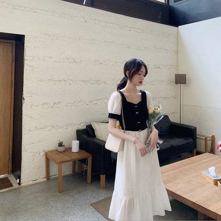 夏季新款桔梗复古时尚雪纺方领连衣裙