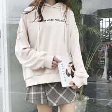 (现货)3050【模特实拍】韩版连帽衫宽松套头卫衣chic字母印花女