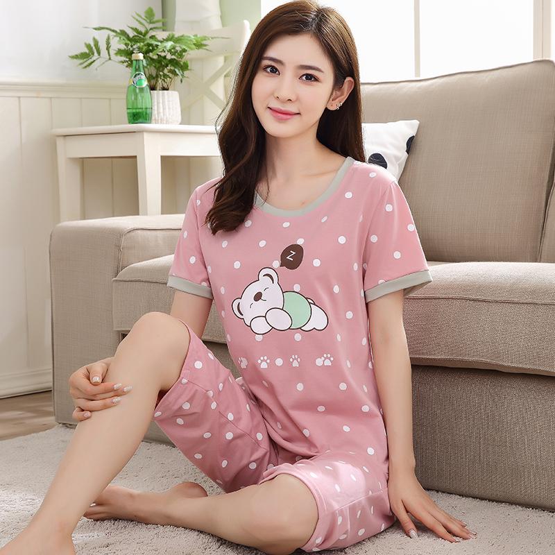 Mùa hè ngắn tay nữ đồ ngủ mùa hè của phụ nữ phim hoạt hình tinh khiết bông dịch vụ nhà phù hợp với cộng với phân bón XL đồ ngủ