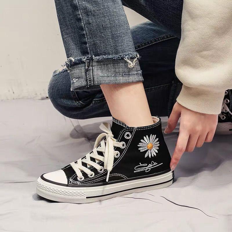 明星同款小雏菊帆布鞋高帮板鞋女
