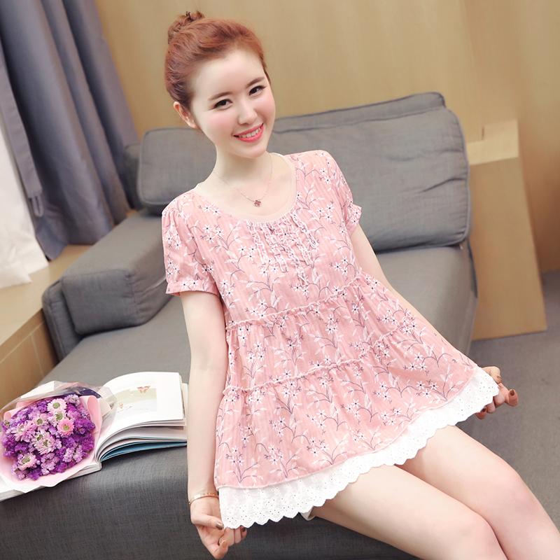 Phụ nữ mang thai mùa hè phù hợp với thời trang mới ngắn tay cotton và linen in phụ nữ mang thai áo búp bê áo khoác dạ dày lift shorts hai mảnh