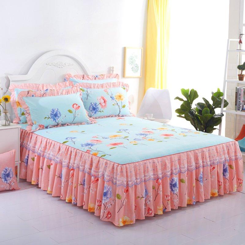 韓版床裙三件套【床裙+枕套一對】蕾絲公主風防滑床單床罩款單件