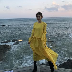 现货。2色~ 韩国早春 纯色木耳边长款连衣裙长袖打底裙 实拍