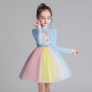 女童連衣裙彩虹裙子2020秋裝
