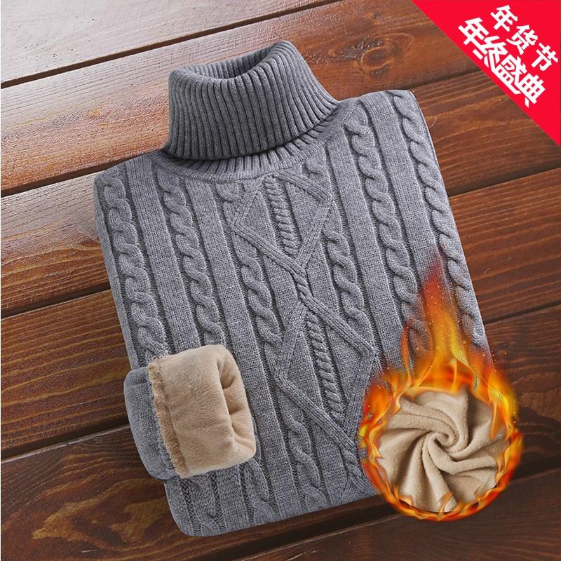 Áo len cộng với nhung dày nam mùa đông cổ cao chạm đáy áo len dày áo ấm nam - Áo len cổ tròn