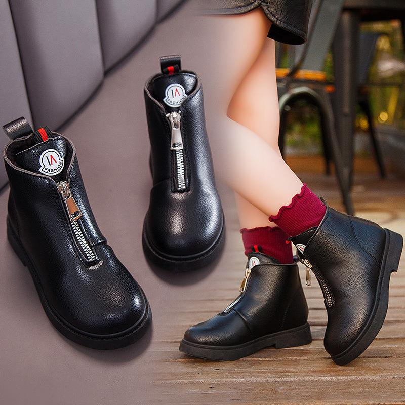 2019新款韩版时尚皮靴加棉保暖女童靴子中低帮学生棉鞋冬季新款
