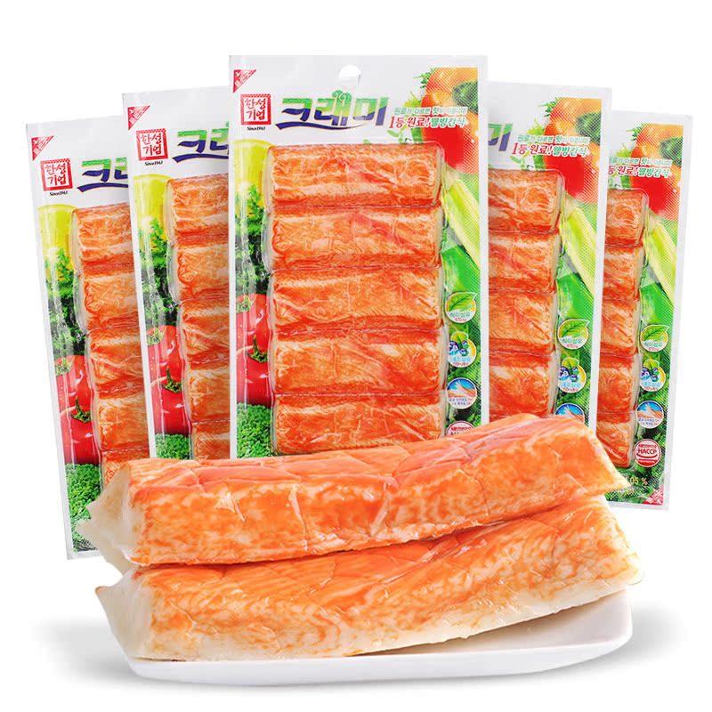 韓國進口蟹肉棒蟹棒鱈魚餅日本手撕即食零食品可萊美蟹足棒