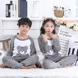 兒童珊瑚絨睡衣男女童寶寶家居服法蘭絨套裝