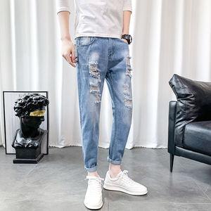 破洞牛仔裤男韩版学生修身九分裤