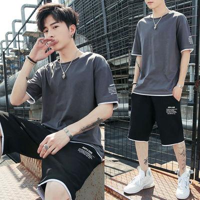 【套装】夏季男士休闲新款T恤短袖短裤宽松运动潮流牌冰丝两件套