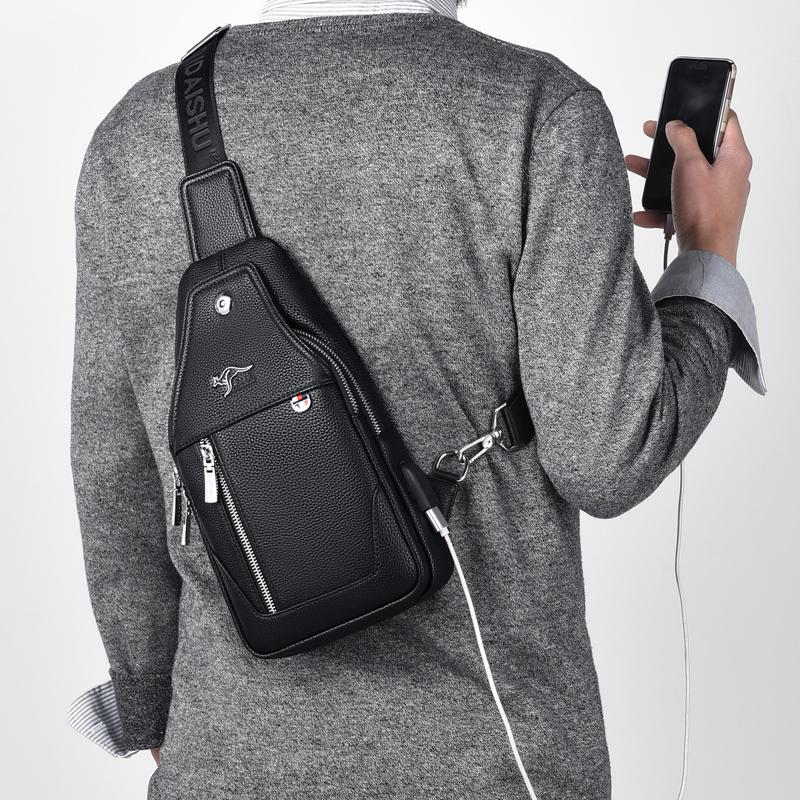 萨奇袋鼠男士胸包真皮单肩斜挎USB胸前包