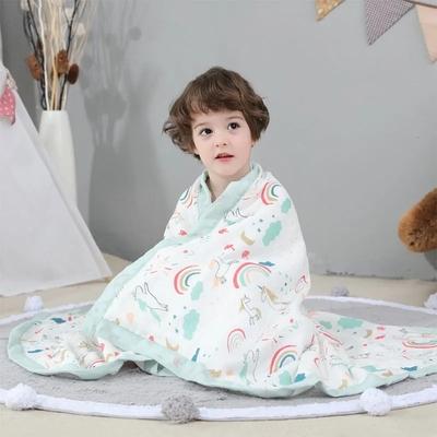 婴儿浴巾纯棉超柔纱布宝宝浴巾新生儿洗澡毛巾被儿童盖毯春夏童被