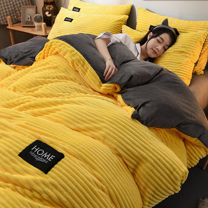 被套+床单+枕套加厚双面绒冬法兰绒水晶绒床上用品套件珊瑚绒被罩