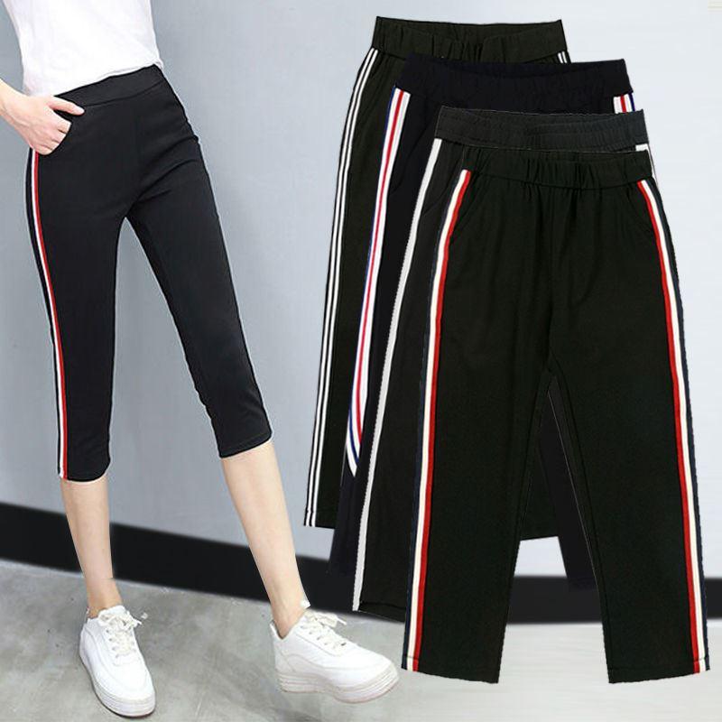 2020夏季新款黑色运动弹力薄款七分裤女夏松紧腰显瘦休闲打底裤