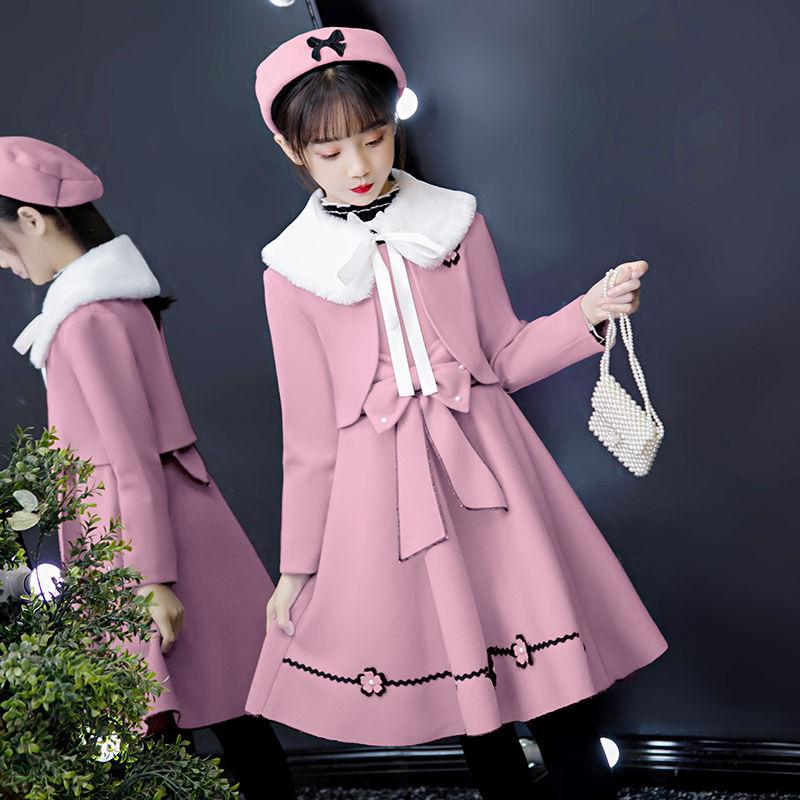 女童连衣裙公主裙儿童毛呢背心裙两件套