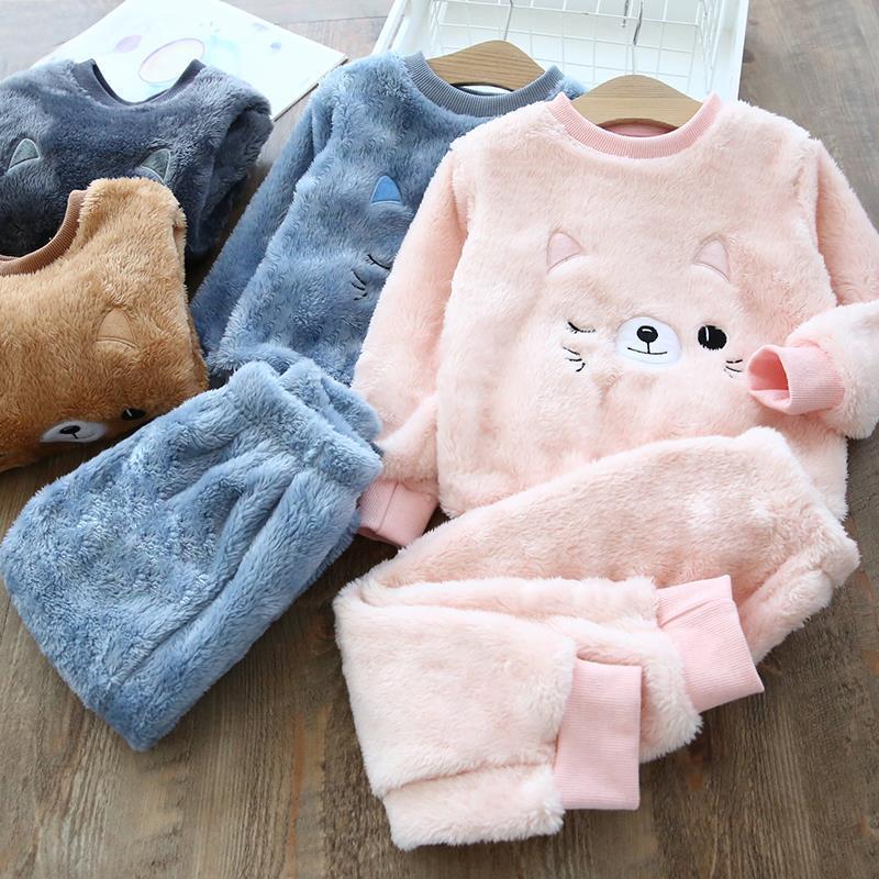 儿童睡衣2020冬季新款宝宝加绒加∑厚法兰绒家居服小孩】冬装保暖居家