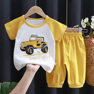 夏季儿童纯棉短袖套装中小童半袖中裤男童女