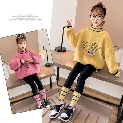 女童秋冬新款加绒套装儿童洋气加厚保暖卫衣小女孩网红运动两件套