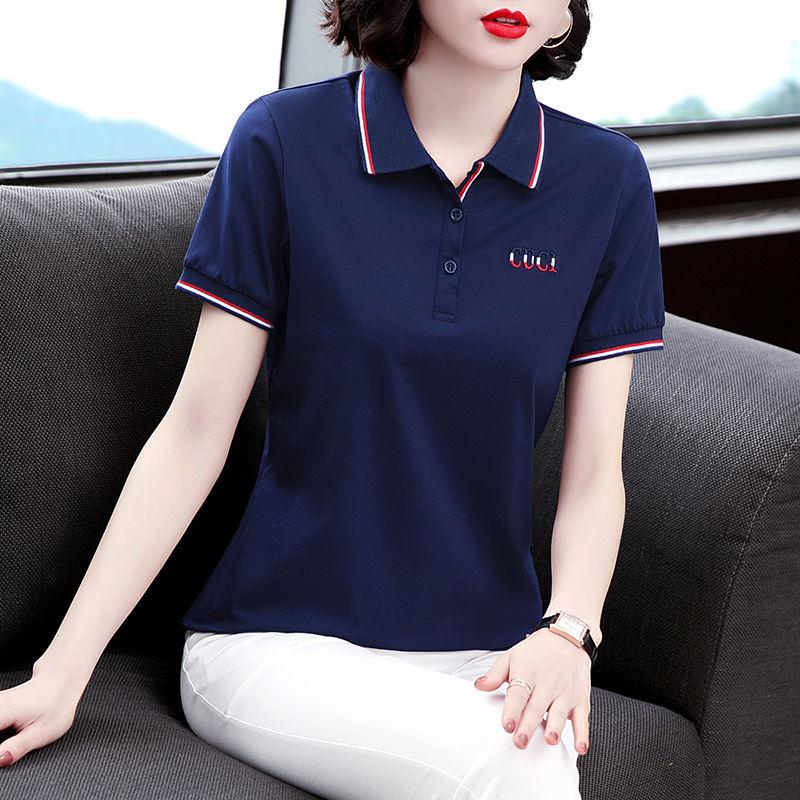 新疆95棉 有领绣花t恤女短袖2021夏季新款休闲翻领polo衫显瘦体恤
