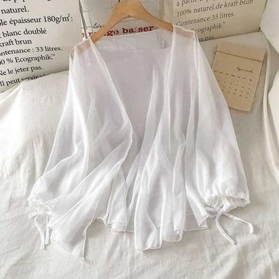 2021夏季新款白色仙气薄款百搭雪纺开衫外套女上衣外搭长袖防晒衣