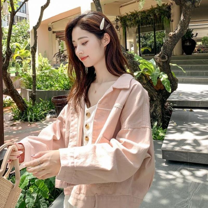 春秋粉色牛仔外套女韩版显瘦洋气上衣
