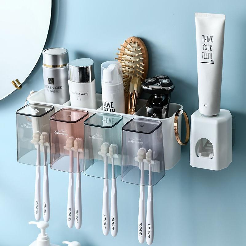 壁挂式牙刷架套装卫生间免打孔洗漱口杯架子家用创意牙刷杯收纳架