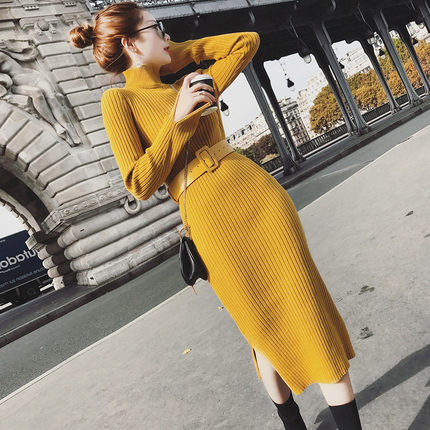 毛衣连衣裙长款女2018新款时尚修身长袖慵懒秋冬季收腰开叉针织裙