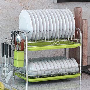 家用厨房置物架两层沥水碗碟架碗柜收纳架子
