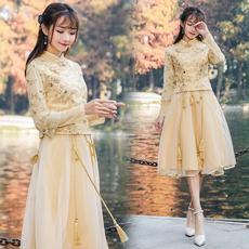2018【实拍】春季新中式假两件连衣裙立领金色气质修身显瘦a字裙