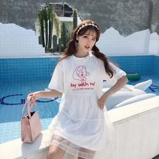 实拍实价  7068#  韩版学生可爱印花网纱连衣裙短袖裙子