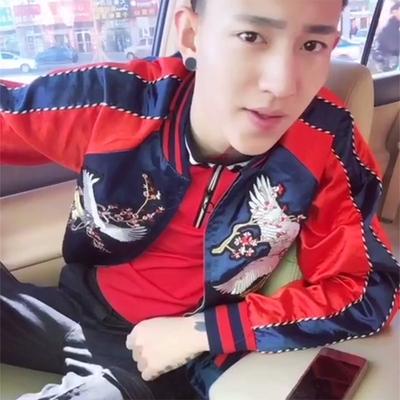 Mùa xuân xã hội người Trung Quốc phong cách thêu crane coat nam xu hướng tính cách Hàn Quốc phiên bản của đẹp trai phong cách Harajuku bf đồng phục bóng chày Đồng phục bóng chày