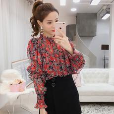 实拍2018春季新款韩版碎花荷叶边雪纺衫女灯笼袖长袖衬衫百搭上衣