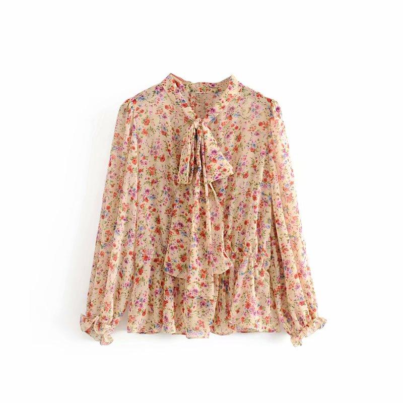 2019 ранняя осень небольшой цветочный печать пузырь рукавов наконечник вырез небольшой перспектива шифон рубашка куртка 7840065 599453543411