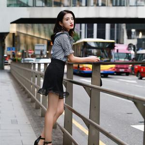 [Momoshero] 怦然心动 黑白格纹荷叶边短袖上衣 鱼尾半身裙