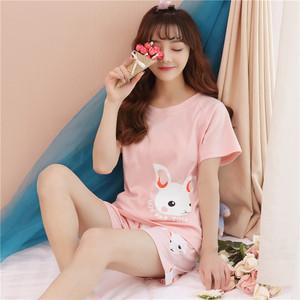 实拍2018夏季韩版可爱兔甜美纯棉家居服套装1772#