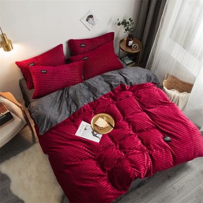 冬季加绒四件套加厚魔法绒床上用品水晶绒床单被套珊瑚绒纯色被罩