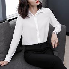 实拍韩版衬衣女春季修身韩范OL雪纺上衣长袖女职业白色衬衫女2019
