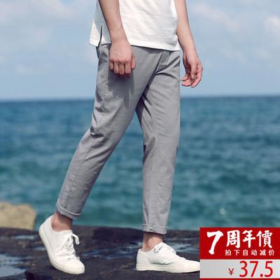 Cổ đại Trung Quốc phong cách bông giản dị hậu cung quần 2018 mùa xuân mới lỏng chùm quần quần áo của nam giới