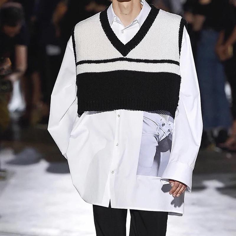 Châu âu và Hoa Kỳ hiển thị mô hình Hàn Quốc bf gió cao đẳng V-Cổ lỏng màu phù hợp với áo thun áo len ngắn vest vest nam giới và phụ nữ
