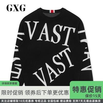 GXG nam mùa đông 2019 Mới đen cổ áo len thấp cổ nam Chữ lớn trang trí đan GY120792G - Áo len