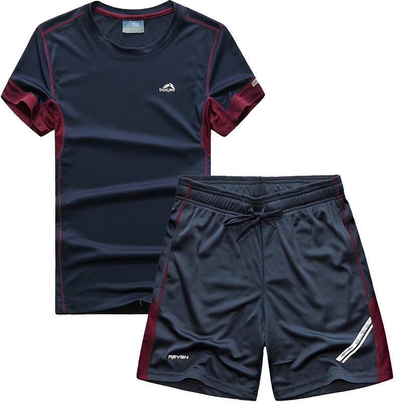 Buổi sáng chạy thể thao phù hợp với nam ngắn tay quần short nhanh chóng làm khô thể thao giản dị mùa hè lỏng lẻo thanh thiếu niên chạy quần áo thể dục