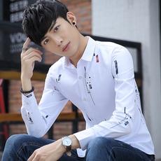 秋季男装印花衬衫长袖修身青少年韩版潮学生白衬衣薄款