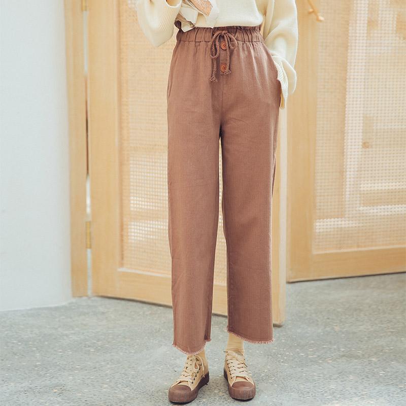 实拍5853# 韩版休闲直筒抽绳时尚简约系带松紧腰裤子1