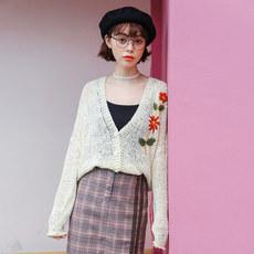 实拍2013#春季新款镂空花朵刺绣V领粗棒针织衫外套