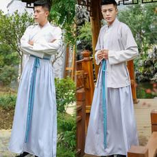 6005实拍 中国风唐朝汉服男纹绣花 交领衣裳传统cp情侣装两件套装