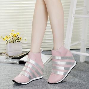 2018 mùa xuân và mùa thu da mới giày của phụ nữ vô hình tăng trong phiên bản Hàn Quốc của giản dị cao-top giày của phụ nữ giày thủy triều giày thể thao duy nhất phụ nữ