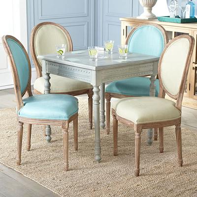 实木餐椅 美式布艺餐桌椅欧式休闲咖啡椅复古真