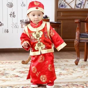 春秋唐装男宝宝周岁礼服中国风阿哥装
