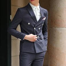 条纹西服套装三件套英伦风绅士男装西装(单件160)配三件套298