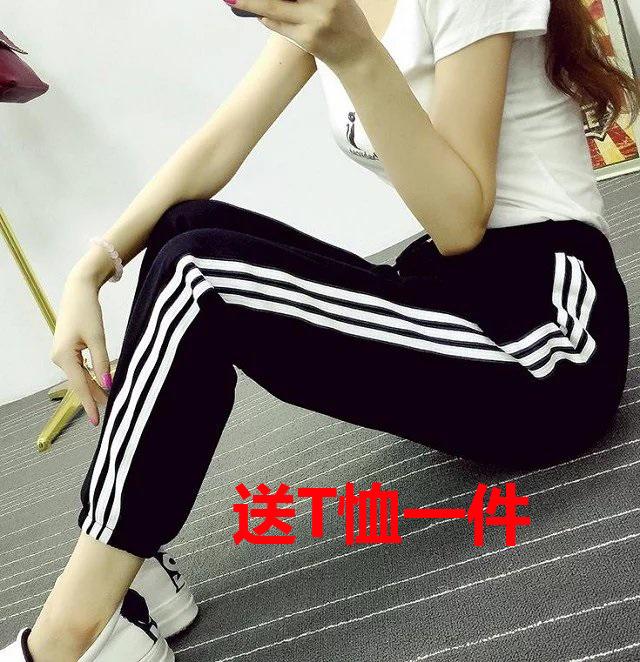 Mùa thu và mùa hè sinh viên Hàn Quốc đàn hồi eo chín điểm chùm quần âu phụ nữ hoang dã loose side feet thể thao quần Khởi động cắt